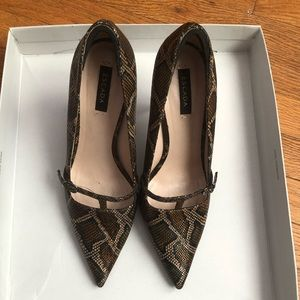 Pointed toe python pumps from ESCADA